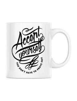 Cana personalizata Accept Yourself Alb