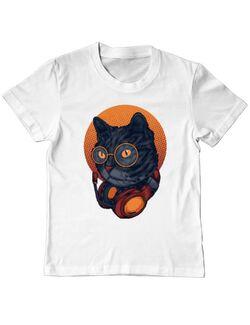 Tricou ADLER copil Cat Gamer Alb