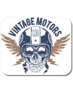 Mousepad personalizat Vintage Motors Skull Alb