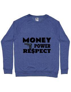 Bluza ADLER barbat Money, power,respect Albastru melanj