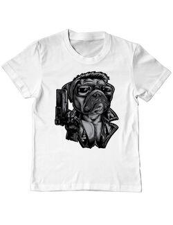 Tricou ADLER copil Pug Terminator Alb