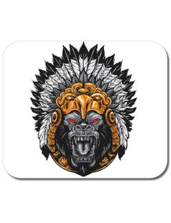 Mousepad personalizat Aztec Gorilla Alb