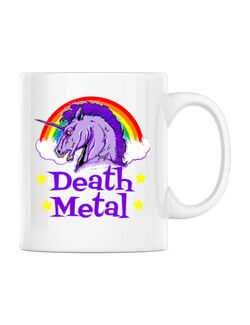 Cana personalizata Death Metal Alb