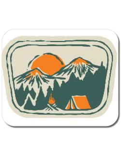 Mousepad personalizat Camping badge Alb