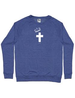 Bluza ADLER barbat Jesus Cross Albastru melanj