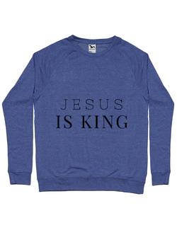 Bluza ADLER barbat Jesus Is King Albastru melanj