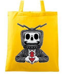 Sacosa din panza Skull TV Man Galben