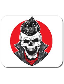 Mousepad personalizat Skull with slick hair Alb