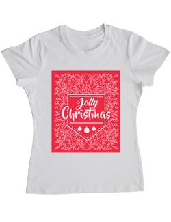 Tricou ADLER dama Jolly Christmas - Cani de craciun Alb