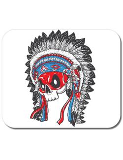 Mousepad personalizat Skull Indians Alb