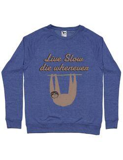 Bluza ADLER barbat Live slow, die whenever Albastru melanj