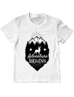 Tricou ADLER copil Adventure Begins Alb