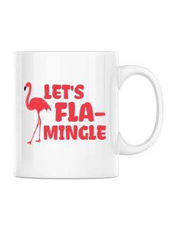 Cana personalizata Let's flamingle Alb