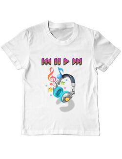 Tricou ADLER copil Music in headphones Alb