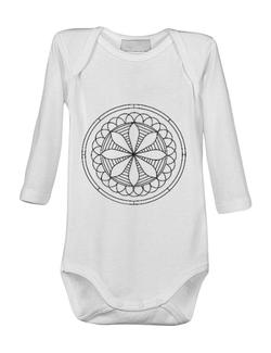 Baby body Mandala Alb Negru Alb