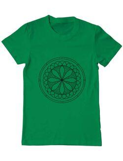 Tricou ADLER barbat Mandala Alb Negru Verde mediu