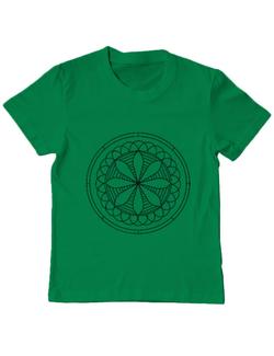 Tricou ADLER copil Mandala Alb Negru Verde mediu