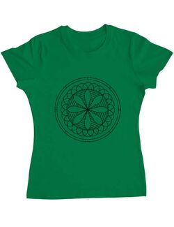 Tricou ADLER dama Mandala Alb Negru Verde mediu