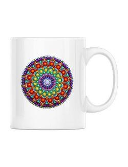 Cana personalizata Mandala in Puncte Alb