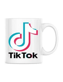 Cana personalizata Tik-Tok Alb