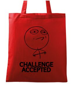 Sacosa din panza Challenge Accepted Rosu