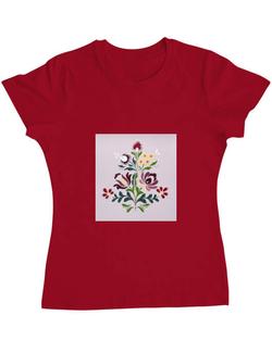 Tricou ADLER dama Floare Rosu