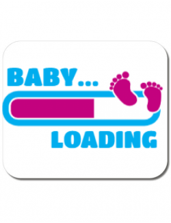 Mousepad personalizat Baby loading Alb