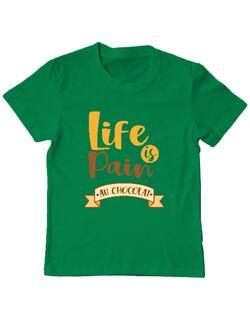 Tricou ADLER copil Life is Pain ...au chocolat Verde mediu
