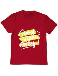 Tricou ADLER copil Good Vibes Only! Rosu
