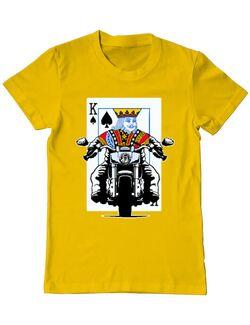 Tricou ADLER barbat Poker King Biker Galben
