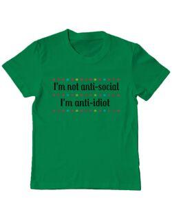 Tricou ADLER copil I\'m not anti-social, I\'m anti-idiot Verde mediu