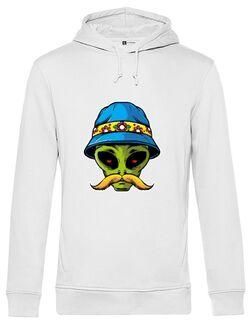 Hanorac barbat cu gluga Alien Head 02 - Beyond Ideas Shop Alb