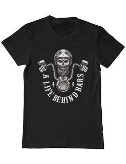 Tricou ADLER barbat Craniu Moto Life Behind Bars Negru