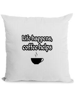 Perna personalizata Life happens, coffee helps Alb