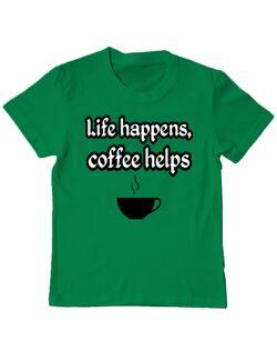 Tricou ADLER copil Life happens, coffee helps Verde mediu