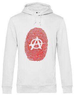 Hanorac barbat cu gluga Anarchy Fingerprint Alb