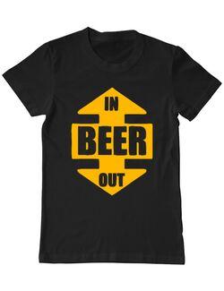 Tricou personalizat barbat Beer In Out Negru