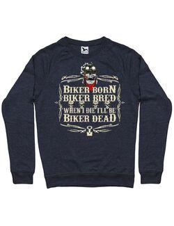 Bluza personalizata barbat Biker Born Biker Dead Denim inchis