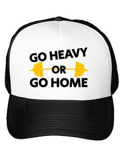 Sapca personalizata Go heavy or go home Alb