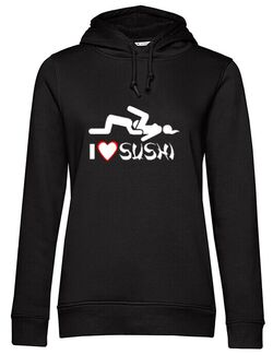 Hanorac dama cu gluga I Love Sushi Negru