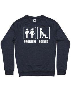 Bluza personalizata barbat Problem Solved - Blowjob Denim inchis