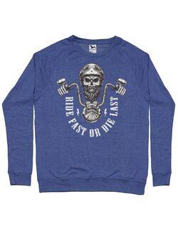 Bluza personalizata barbat Ride Fast or Die Last Biker Skull Albastru melanj