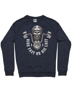 Bluza personalizata barbat Ride Fast or Die Last Biker Skull Denim inchis