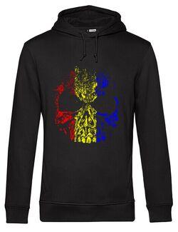 Hanorac barbat cu gluga Craniu Tricolor Negru