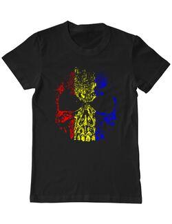 Tricou personalizat barbat Craniu Tricolor Negru