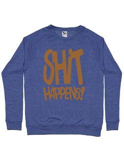 Bluza personalizata barbat Shit Happens Albastru melanj