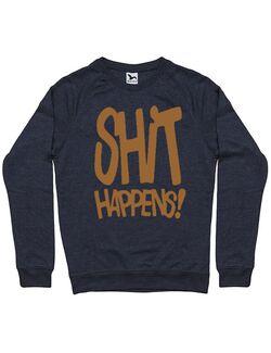 Bluza personalizata barbat Shit Happens Denim inchis