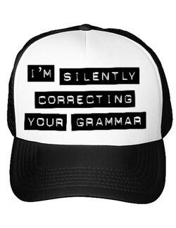 Sapca personalizata Grammar nazi Alb