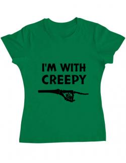 Tricou ADLER dama I'm with creepy Verde mediu