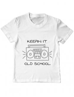 Tricou ADLER copil Old school stereo Alb